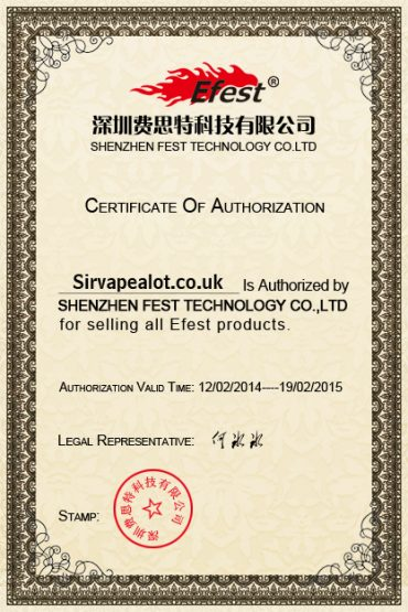 Authorised Efest seller certificate