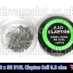 SS316l-stainless steel clapton 0.2 ohm