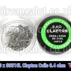 0.4ohm SS316l clapton coils