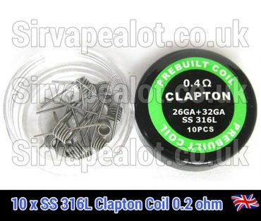 SS316l-stainless steel clapton 0.4 ohm