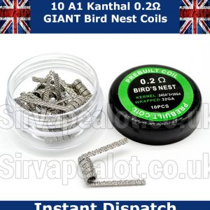Kanthal Birds Nest Coils (24G x3 +26G ) Wrap (32G) 0.3 Ohm Premade coils x 10