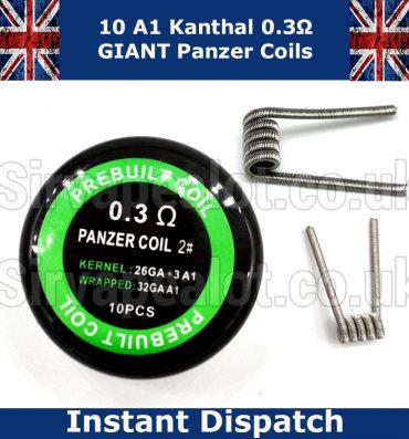Kanthal Panzer Coils 0.3 Ohm (26G x3 +26G) Wrap ( 32G) Premade coils x 10