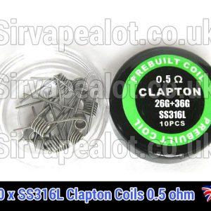 0.5ohm SS316l clapton coils