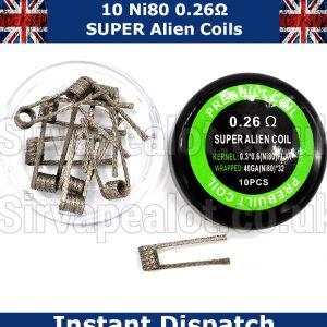 Ni80 Super Alien 0.26 Ohm (0.3*0.6 Flat Ni80) Wrap (Braided 40gx40) Premade coils x 10