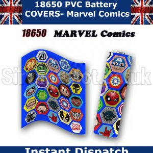 marvel comics 18650 battery wraps x5