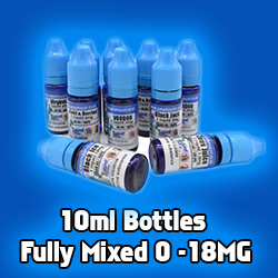 10ml eliquids Fully mixed 0mg to 18mg